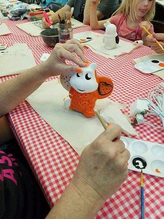 Gore, Oklahoma: Painting ceramics in the Activity Center