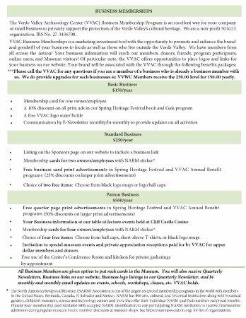 Verde Valley Archaeology Center: List of perks for Business Members