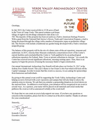 Verde Valley Archaeology Center: Letter for yearly Gala Fundraiser