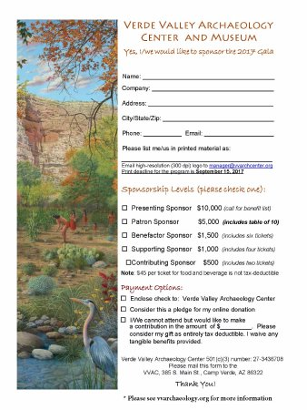 Camp Verde, AZ: Gala Sponsorship and Donation Form
