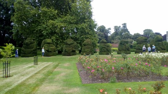 Bexley, UK: Rose beds and topiary figures