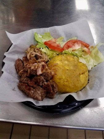 Morristown, TN: Mofongo with carne frita (mashed plantains and fried beef).