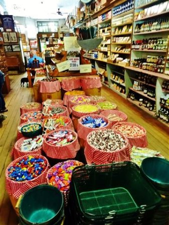 Valle Crucis, NC: Baskets of various candies.