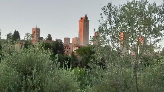 Podere Poggiluglio: The view of San Gimingnano from the gates of Poggiluglio
