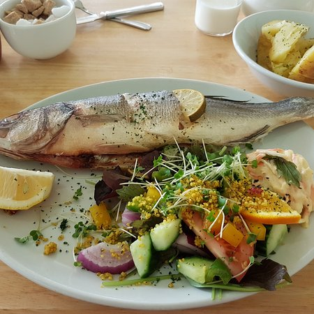 Bay Cafe: Oven baked stuffef sea bream with jacket potato and salad £12.50 on the specials board.