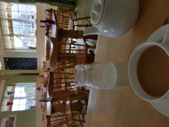 Bay Cafe: Comfy and warm inside with my cup of tea £1.60.