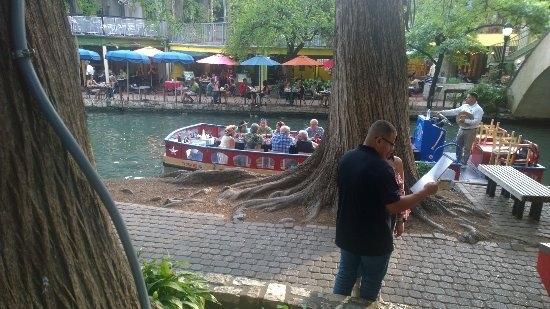Riverwalk and San Antonio River our view from Michelino's Restaurant.