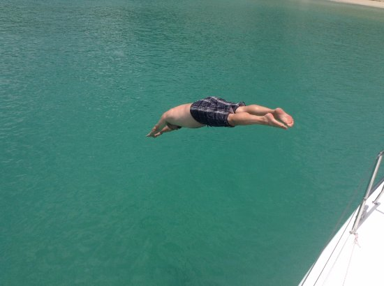 Jolly Harbour, Antigua: Diving contest. I was the only one, so I win, right?