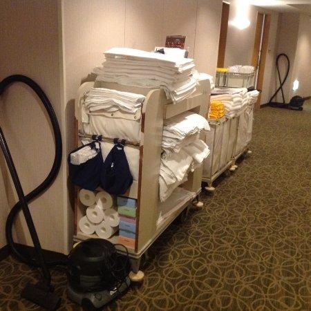 Hilton Tokyo Narita Airport Hotel: 定位置?掃除機置き場が私の部屋の真横。でも、連泊中の清掃をしてくれず、やっと夕方にゲストサービスに電話してテラスで17:30〜の夕食中に清掃をお願いした