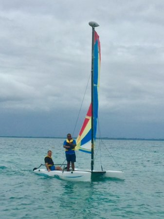 Toberua Island, Fiji: A lesson on how to work with the wind and sail a mini catamaran.