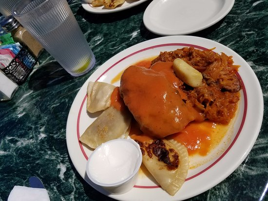 Cross Village, MI: Hearty Lunch: pierogis, cabbage roll and a stew