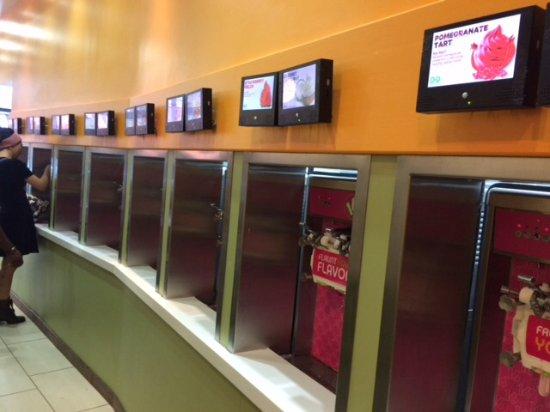 Gaithersburg, Maryland: The self serve frozen yoghurt dispensers