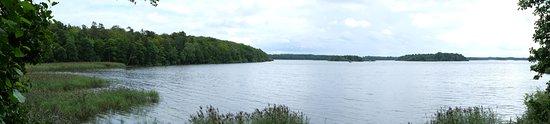Vaxjo, Sweden: Uitzicht op het meer vanuit vogeluitkijk
