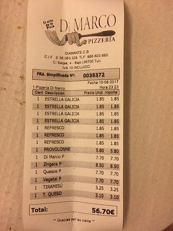 Pizzeria di Marco: Ticket