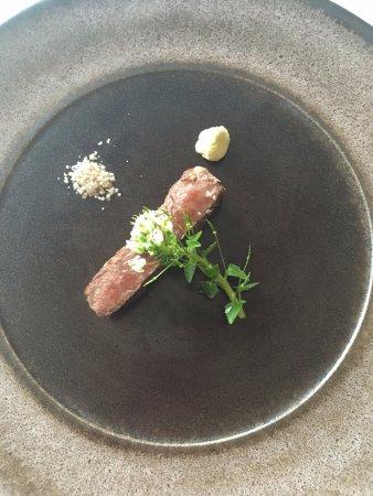 Adelaide Hills, Australia: wagu beef with wasabi leaf