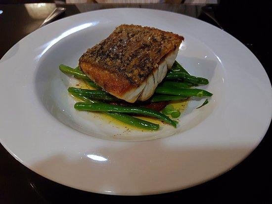 Spice Market,Rockford Hotel: Pan seared barramundi + lightly spiced potato rosti, burnt butter vinaigrette + sauteed green be
