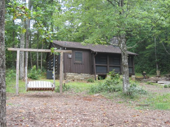 Pickens, SC: Outdoor swing shared by Cabin #3 occupants and those of Cabin #2 in picture