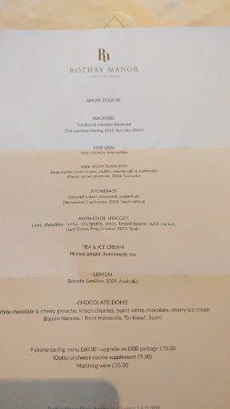 Rothay Manor Hotel: Tasting menu