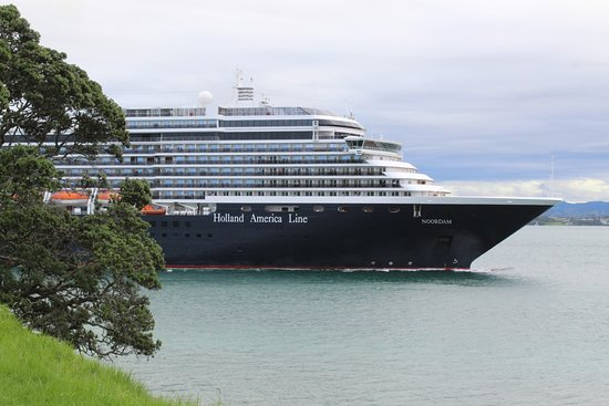 Mount Maunganui, New Zealand: A criuse liner leaving port far side of the Mount