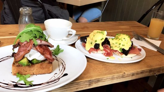 Quay Ingredient: poached eggs and avocado on toast (added bacon) & eggs benedict with parma ham (added black pudd