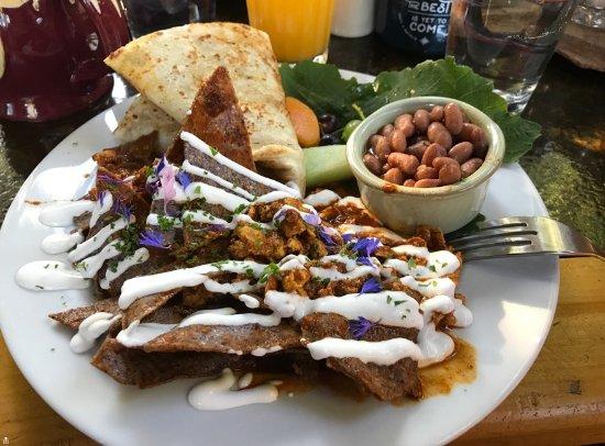 Boulder, UT: Spicy chile-migas breakfast with fresh tortilla