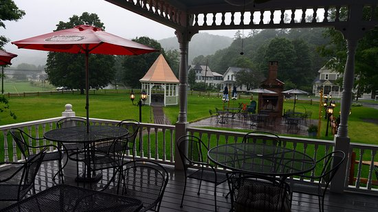 Bethel, VT: The porch on a rainy night.