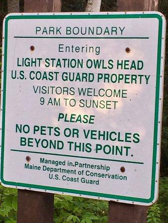 Owls Head, เมน: sign