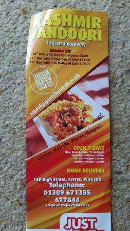 Forres, UK: menu