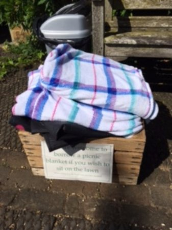 Banbury, UK: What a lovely idea - blankets you can borrow to have a picnic on the lawn