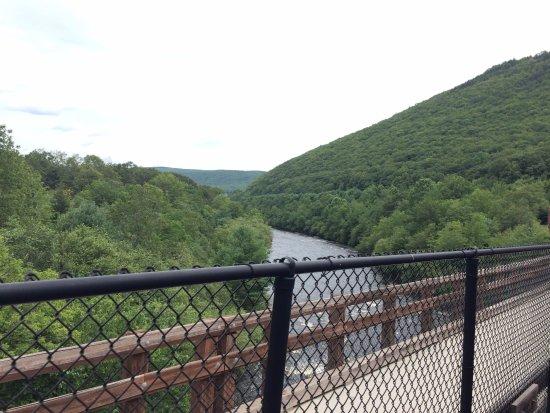 Jim Thorpe, PA: Over a bridge.