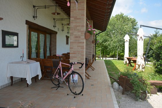 Aviano, Włochy: We were there during the week of Giro d'Italia and pink bicycles and decorations were everywhere