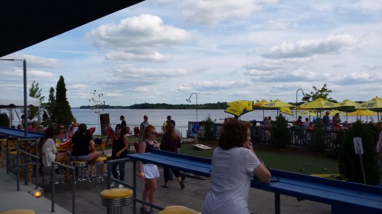 Grafton, IL: Looking out on the water across the south end of the outside seating area.