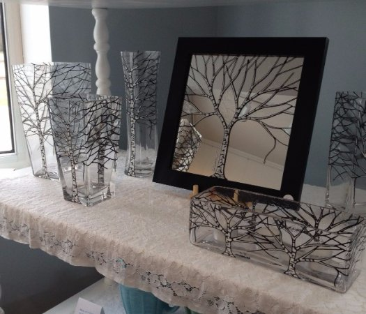 Stayner, Canada: Hand Painted glass with white birch trees. Vases. Windows. Mirrors