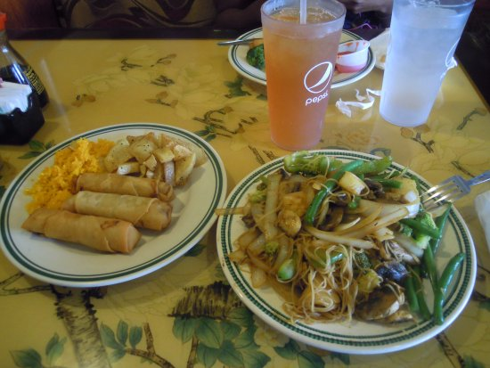 Champaign, IL: my custom stir fry with spring rolls, fried potato and rice