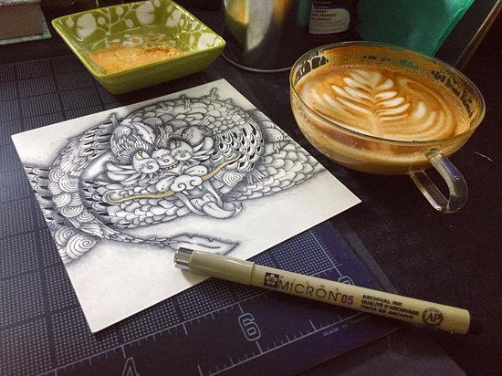Havelock, Carolina del Norte: Zentangle Workshop! On this day, we applied the Zentangle techniques to an oriental dragon desig