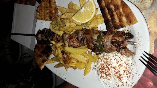 Schinoussa, Greece: Pork souvlaky
