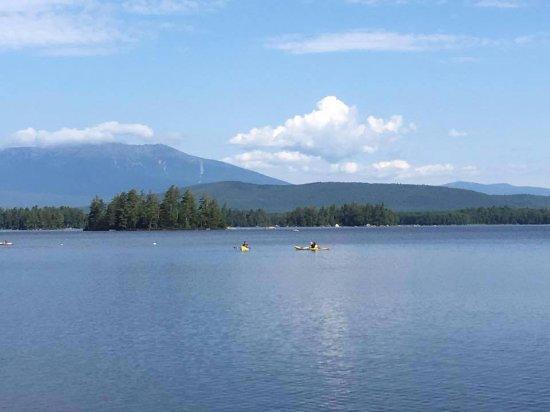 Millinocket, ME: lake with Mount Katahdin in the background