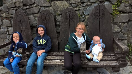 Pembroke, UK: Commemorative bench outside the castle for the birth of Prince Harry