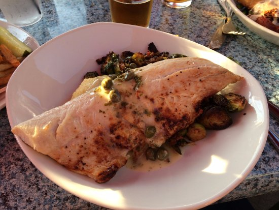 Saugatuck, MI: Whitefish with large capers, mashed potatoes, and pork roasted brussel sprouts.