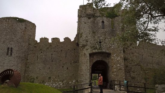 Manorbier Castle: Good strong entrance, leading to entrancement