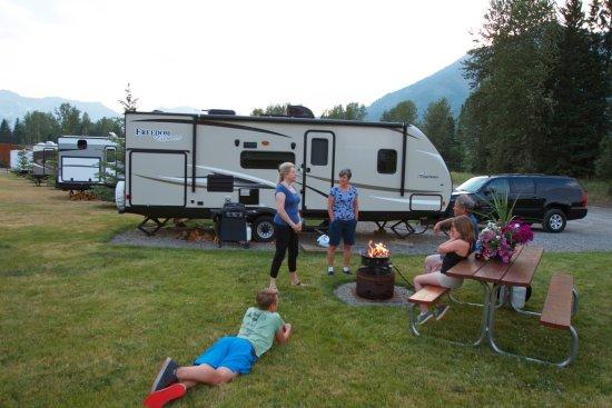 Fernie, Canada: A back-in RV site.