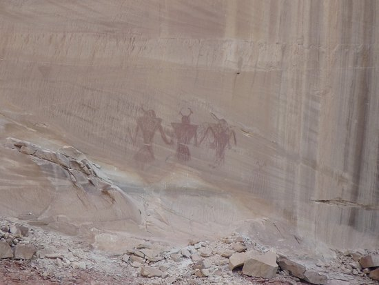 Escalante, UT: Pictographs on the canyon wall.