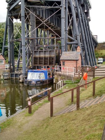 Northwich, UK: A Tourist Boat leaving the Lift