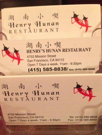 business cards picture of henrys hunan restaurant san francisco tripadvisor - Business Cards San Francisco