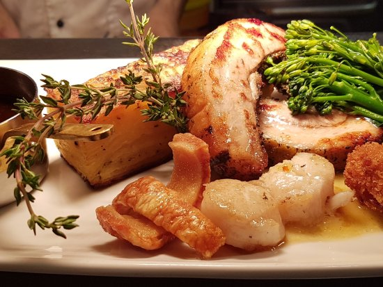 Bearsted, UK: Roasted pork belly with scallops, apple butter, and the crispest crackling
