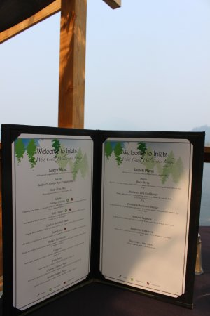 Sechelt, Canada: Menu from Inlet's Restaurant (August 2017)