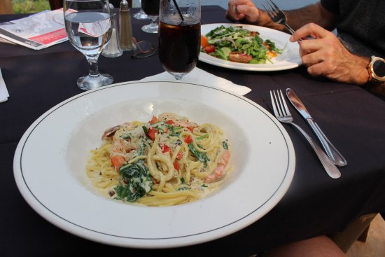 Sechelt, Canada: Delicious food at Inlet's Restaurant (seafood pasta and chicken schnitzel salad). Yum!