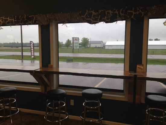 Wadena, MN: Wood shelf bar stool seating looking out the front window