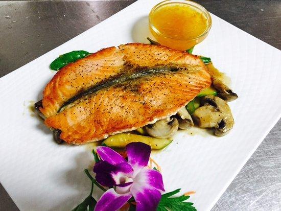 Shelton, CT: Faroe Island Salmon filet in Orange and Apricot glaze and Garden green veggies