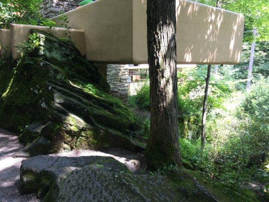 Милл-Ран, Пенсильвания: Exterior wall built into a huge boulder.